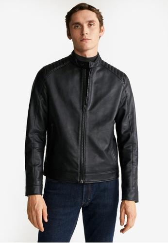 Mango Man black Faux-Leather Biker Jacket FB50FAA25EAA3CGS_1