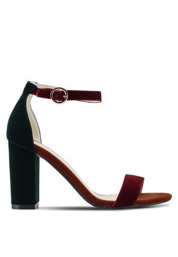ZALORA 紅色 and 多色 Velvet Sandal Heels 811BFSH6828C14GS_1