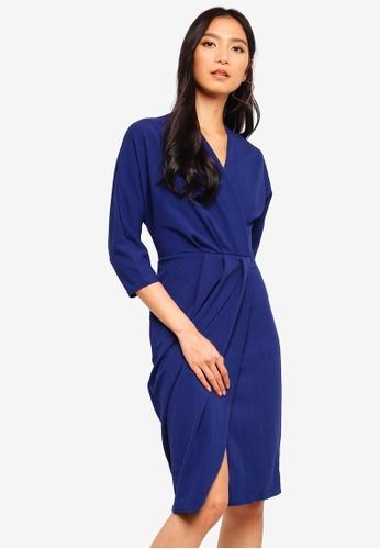 CLOSET blue Wrap Over Jersey Dress 2E86EAA635BA25GS_1