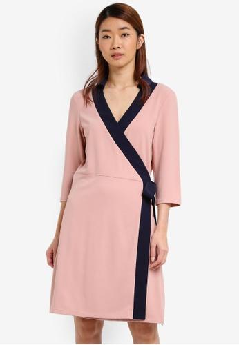 ZALORA pink Contrast Wrapped Dress 9B70FAA9711413GS_1