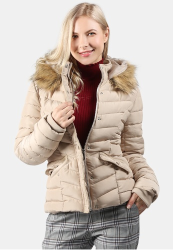 London Rag beige Puffer Jacket With Faux Fur Hoodie 0A0DCAA01C0CF2GS_1