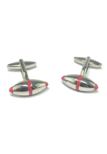 Splice Cufflinks silver Red Outline Silver Rugby Ball Cufflinks SP744AC59FRKSG_1