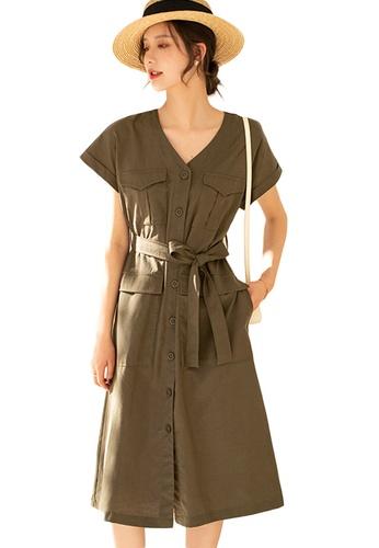 Sunnydaysweety green French Style Linen V-Neck Waist Mid-Length One Piece Dress A21031206GR A989CAA8D44D3DGS_1
