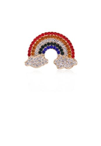 Glamorousky silver Fashion Bright Plated Gold Rainbow Cloud Brooch with Cubic Zirconia CA128AC3D15F6BGS_1