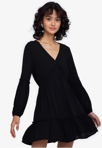 ZALORA BASICS black Puff Sleeve Mini Dress 08B0AAAC21C72AGS_1