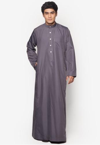 Amar Amran grey Jubah A Regular Fit AM362AA26NAZMY_1