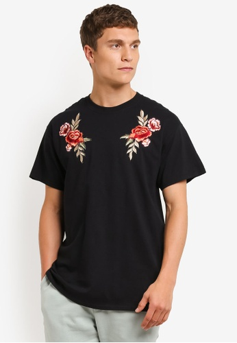 Topman black Black Rose Applique T-Shirt TO413AA0RO9KMY_1