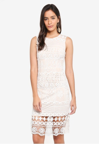 INDIKAH white Lace Overlay Dress E2DC6AA15C7C19GS_1