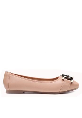 Twenty Eight Shoes 粉紅色 舒適金屬鏈裝飾平底鞋 VL266103 F59D0SHB69D819GS_1