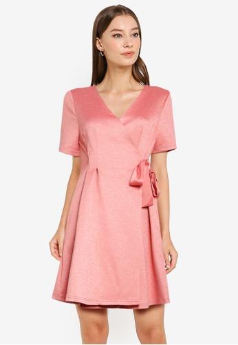 ZALORA WORK pink Fit & Flare Wrap Dress 90401AAEA05084GS_1