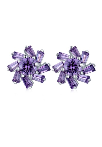 MBLife silver 925 Sterling Silver Purple CZ 8 petal Flower Earrings 4E99EACB6DCD3AGS_1