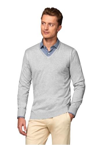 T.M. LEWIN grey T.M.Lewin Molton Supima Cotton Silk Slim Fit Soft Grey V-Neck Jumper 3D01BAA82D61A4GS_1