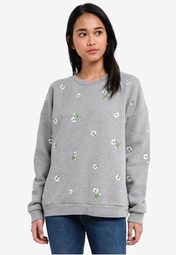 Jack Wills grey Sennen Embroidered Sweatshirt 1EC96AA4E0A6C6GS_1