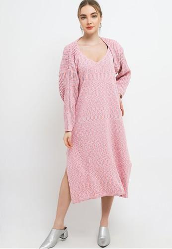Noir Sur Blanc pink Ladies Long Dress and Bolero (Set) 5177FAADBF9E5CGS_1