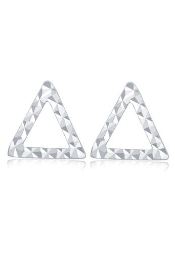 MaBelle silver 14K White Gold Diamond-Cut Open Triangle Geometric Stud Earrings B1DE4AC79D708CGS_1