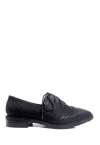 Twenty Eight Shoes 黑色 VANSA 懷舊擦色牛津鞋 VSW-F76666 38D4ASHB08C454GS_1