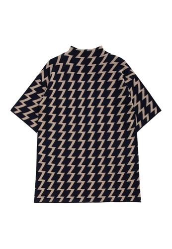 KLAPS navy Zig Zac Patterned Dress DEA8CAA4644597GS_1