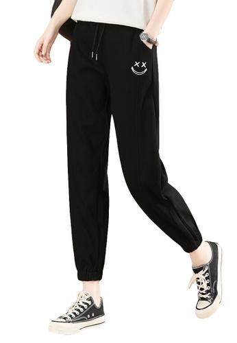 A-IN GIRLS black Elastic Waist Casual Trousers 77932AA603DBF3GS_1