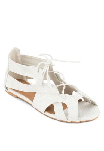 Christy 繫帶zalora鞋鏤空平底涼鞋, 女鞋, 涼鞋
