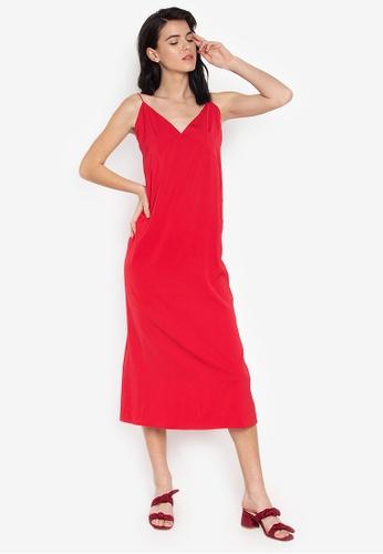 the___edit red Louisa Strappy Low Neckline Slip On Dress D5FDDAA1C3EE51GS_1