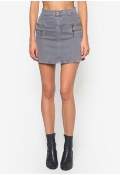 Zipped Denim Skirt