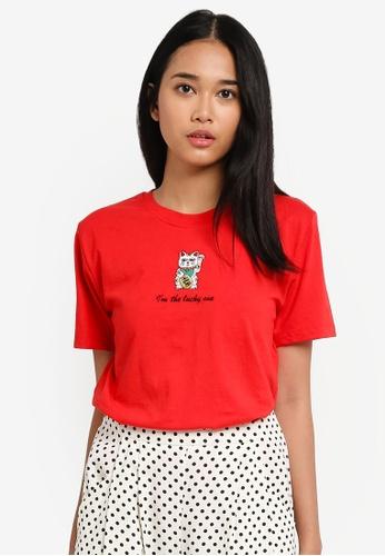 TOPSHOP red Lucky Cat T-Shirt By Tee & Cake D9CF3AAA4404ACGS_1
