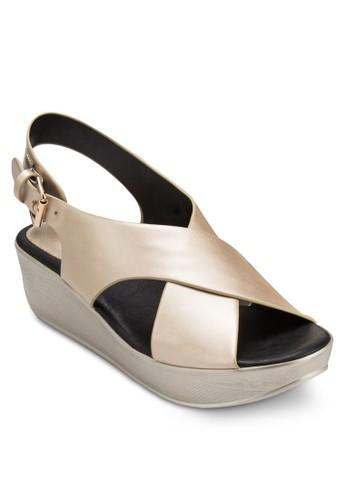 亮zalora 評價面交叉寬帶楔形涼鞋, 女鞋, 鞋