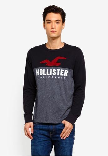 Hollister 黑色 長袖LOGO刺繡T恤 184C8AA499DB04GS_1