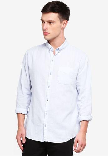 Cotton On 藍色 Premium Linen Cotton Long Sleeve Shirt 48F55AA5ED50B5GS_1