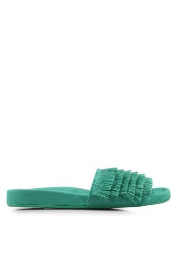 TOPSHOP 綠色 層次流蘇拖鞋 81961SHDE7707DGS_1