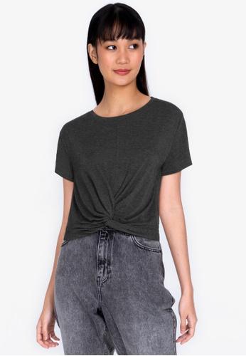 ZALORA BASICS grey Knot Detail T-Shirt 309ABAAB331AB8GS_1