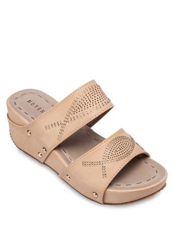 閃鑽寬帶楔型跟涼鞋, 女鞋, 楔形涼esprit專櫃鞋