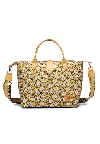 ULA ULA yellow ULA ULA Two Way Hand Carry Leather Trim Satchel Bag with RFID Protected pocket and Shoulder Strap F2F33AC63E8D21GS_1