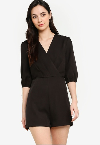 ZALORA WORK black Puff Sleeves Pleated Playsuit 7BB3DAAFBE4D38GS_1