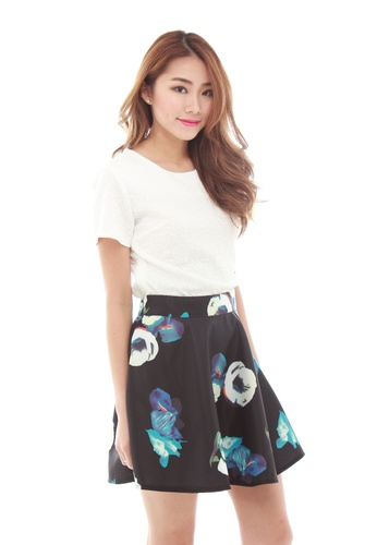 Sophialuv multi Harly Flare Skirt in Blue Roses 75489AAB6F5639GS_1