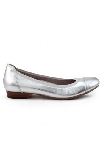 Shu Talk silver Nappa Round Cap Toe Flats SH617SH2UXH2HK_1