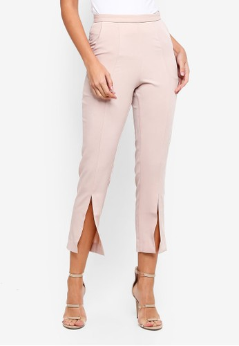 Lavish Alice beige Tapered Trousers With Front Split 575AFAA7AE7F13GS_1
