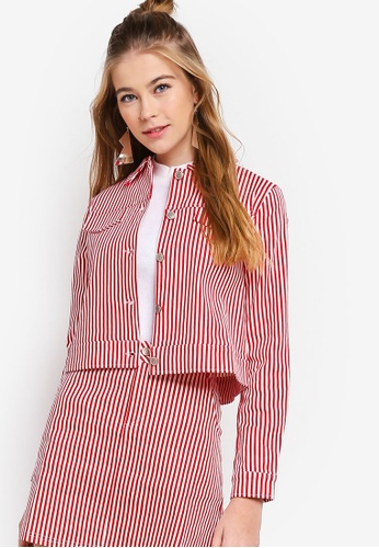 Something Borrowed red Striped Trucker Jacket B0A87AA2789BD3GS_1
