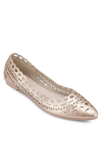 雕花尖頭平zalora 心得底鞋, 女鞋, 鞋