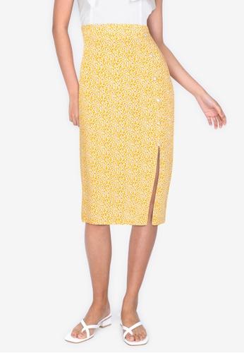 ZALORA BASICS 多色 Button Detail Pencil Skirt with Slit 8C593AAA878532GS_1