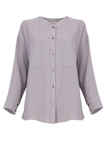 POPLOOK grey Tatyanna Front Button Blouse 05F5FAA820D5ADGS_1