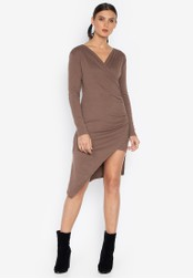 Susto The Label brown Dorothy Wrap Assymetrical Dress 9957DAAC4CC90EGS_1