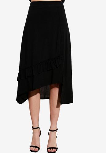 Trendyol black Asymmetrical Ruffle Midi Skirt FB8E1AAECF0063GS_1