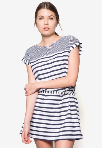 條紋zalora 包包 ptt腰飾連身裙, 服飾, 服飾