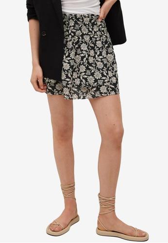 Mango 黑色 Tiered Printed Mini Skirt A78F9AA61E07AAGS_1