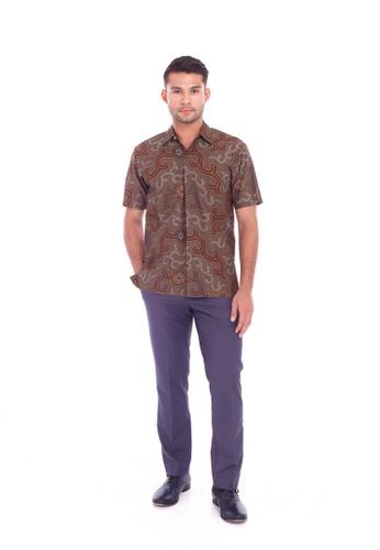 TUSCA brown Eusoff Classic Batik Shirt 31D74AA1205FB1GS_1