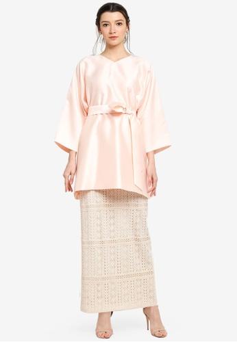 Zalia pink Kimono Sleeve Top with Lace Skirt 96384AA2E8E0AEGS_1