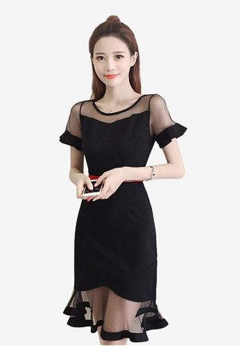 Lara black Mesh Slim Short Sleeves One piece Dress 88A02AAAA18993GS_1