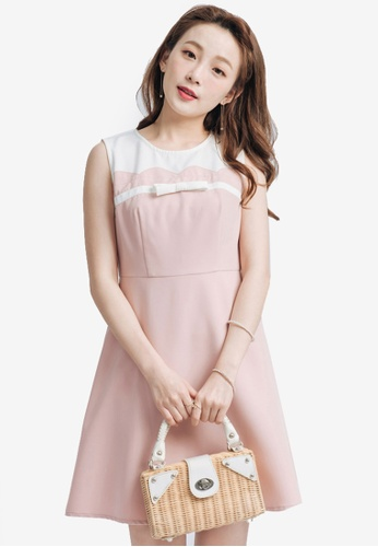 Yoco pink Skater Dress with Ribbon Detail 2C594AAB807B11GS_1