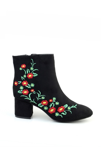 London Rag black Floral Design Ankle Boots 5BDE3SHD4268A8GS_1